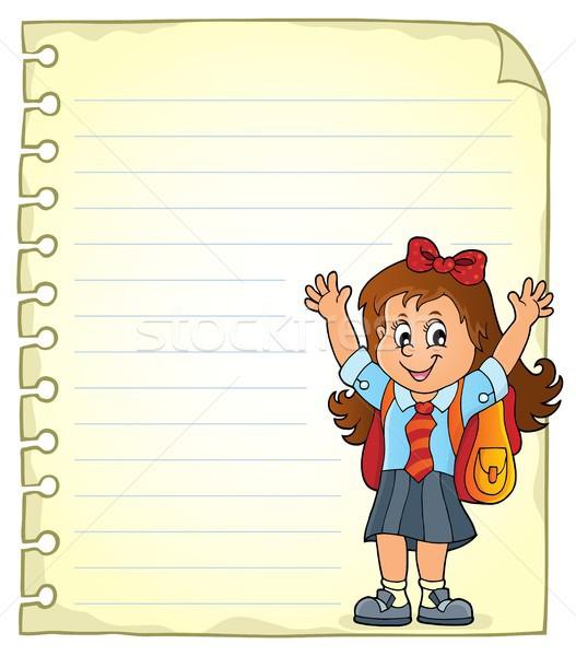 Notatnika strona szczęśliwy dziewczyna papieru dziecko Zdjęcia stock © clairev