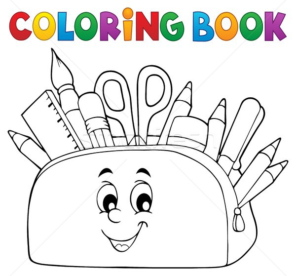 Livre de coloriage crayon cas livre visage art Photo stock © clairev