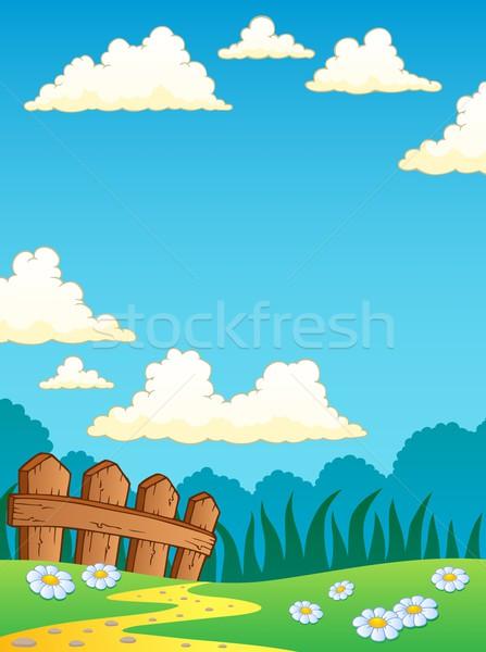 ストックフォト: 春 · 風景 · デザイン · フェンス · 図面 · パス