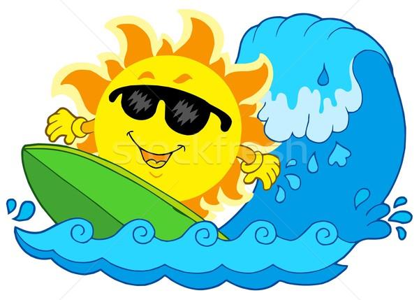 Surfing słońce biały szczęśliwy morza sportowe Zdjęcia stock © clairev
