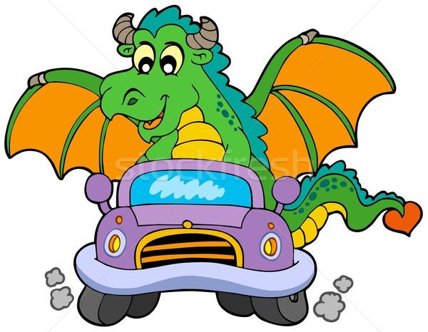 Cartoon Dragon guida auto sorriso finestra Foto d'archivio © clairev