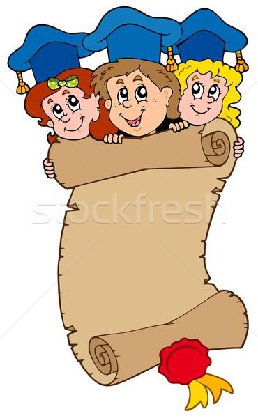 Stockfoto: Drie · kinderen · scroll · school · gelukkig · kind