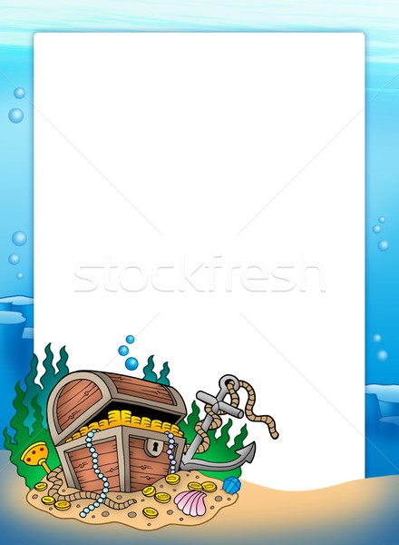 Stock photo: Frame with treasure chest in sea