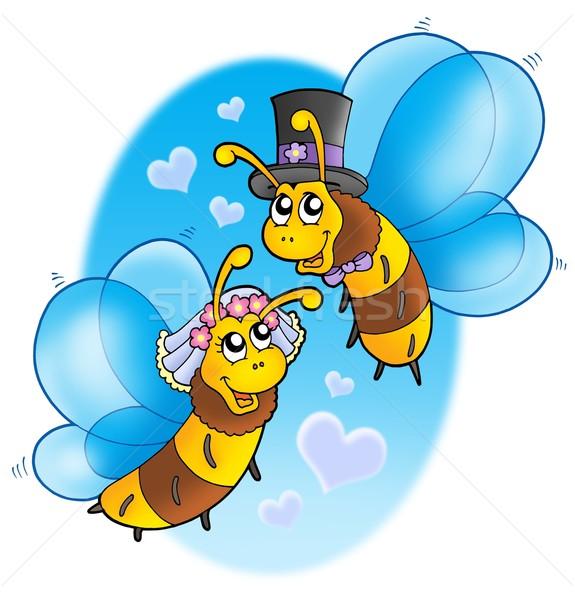 Miel abejas boda cielo color ilustración Foto stock © clairev