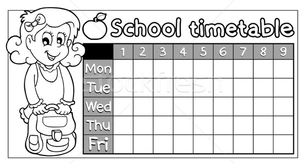 Coloring book school timetable 8 Stock photo © clairev