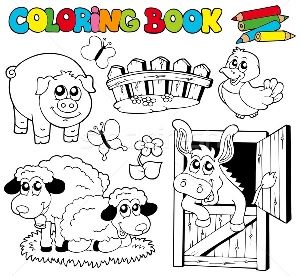 Coloring book with farm animals 2 Stock photo © clairev