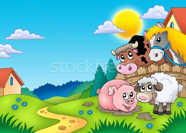 Landscape with various farm animals Stock photo © clairev