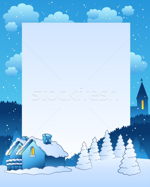 Winter frame with small village Stock photo © clairev