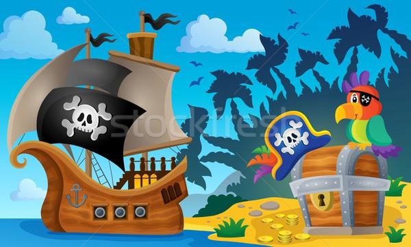 пиратских судно тема изображение воды морем Сток-фото © clairev