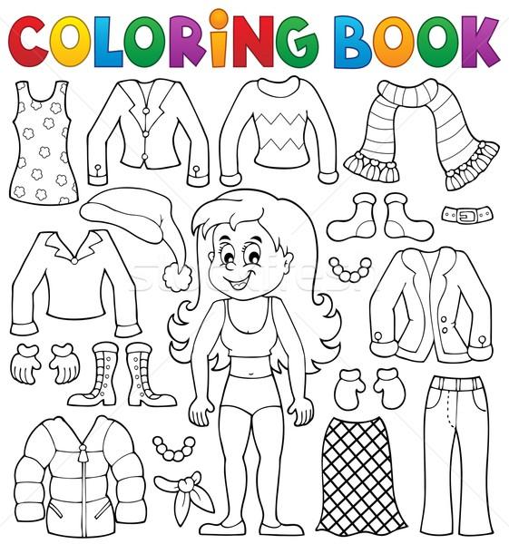 Boyama Kitabi Kiz Elbise Kitap Mutlu Cocuk Vektor