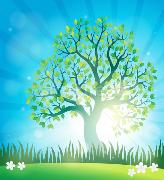 весны тема дерево трава свет лист Сток-фото © clairev