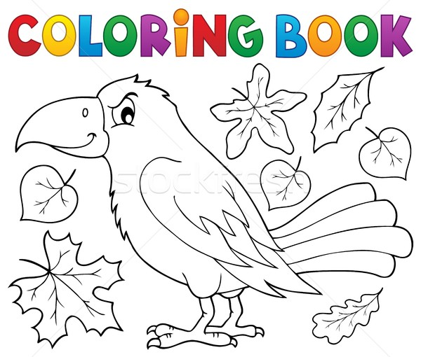 Coloring book with crow and leaves Stock photo © clairev