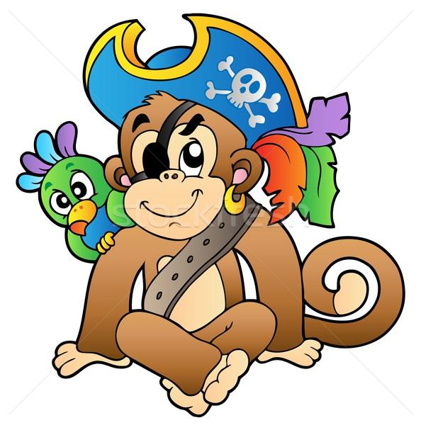 Pirate Monkey With Parrot Vector Illustration Klara