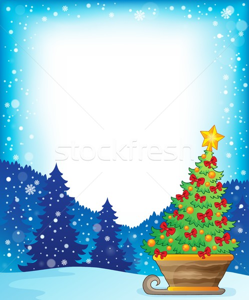 Frame with Christmas tree on sledge Stock photo © clairev