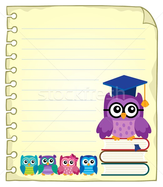 Notepad page with owl teacher and owlets Stock photo © clairev