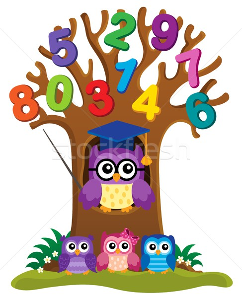 Tree with stylized school owl theme 4 Stock photo © clairev