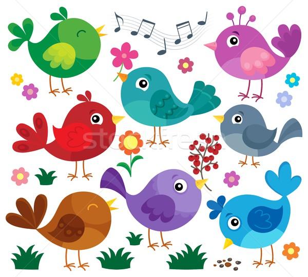 стилизованный птиц набор цветок искусства животные Сток-фото © clairev