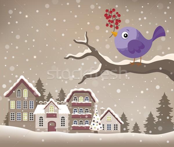 Stilizált tél madár kép természet hó Stock fotó © clairev