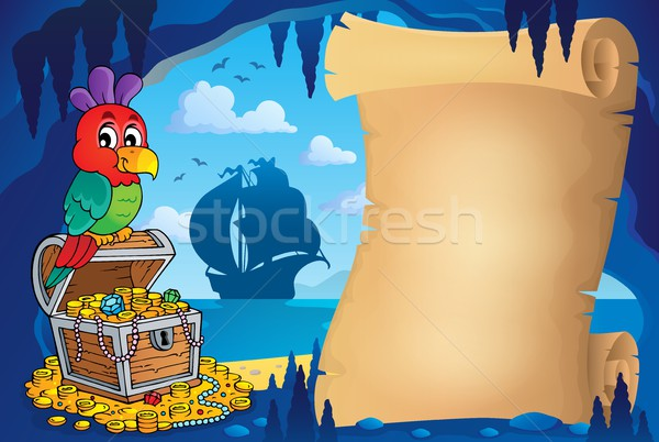 Pergamino pirata cueva imagen océano aves Foto stock © clairev