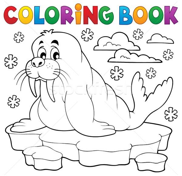 книжка-раскраска морж краской зима посмотреть обратить Сток-фото © clairev