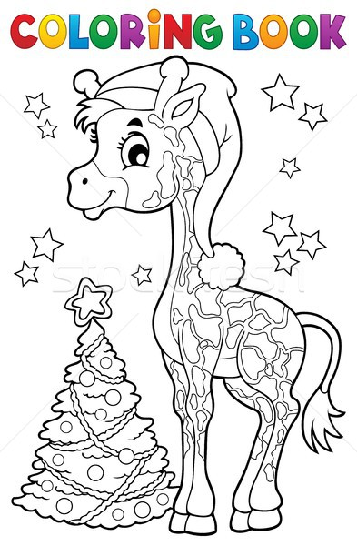 Boyama kitabı Noel zürafa kitap sanat star Stok fotoğraf © clairev