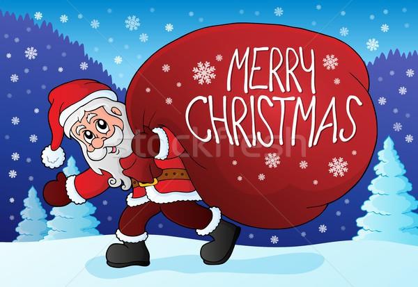 サンタクロース ビッグ ギフト 袋 芸術 帽子 ストックフォト © clairev