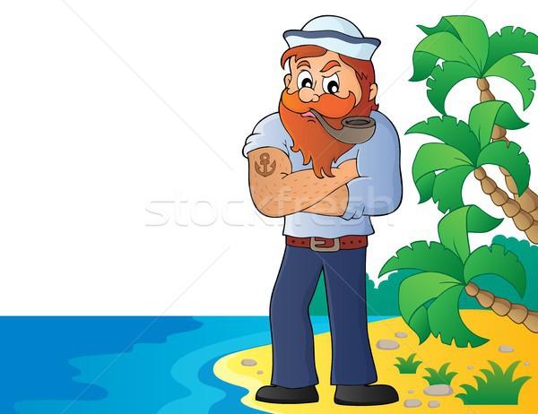 Marynarz temat obraz plaży podróży hat Zdjęcia stock © clairev