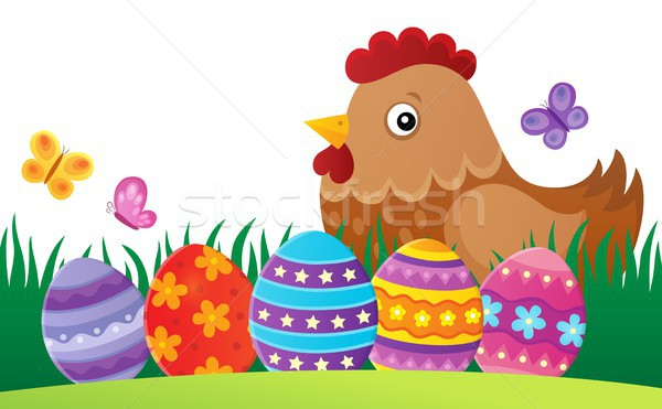Pascua gallina imagen hierba aves huevos Foto stock © clairev