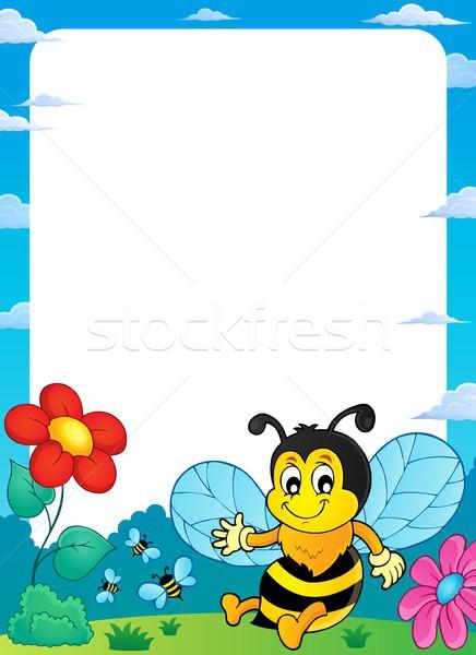 Boldog tavasz méh téma keret virág Stock fotó © clairev
