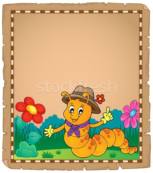 Happy caterpillar theme parchment 2 Stock photo © clairev