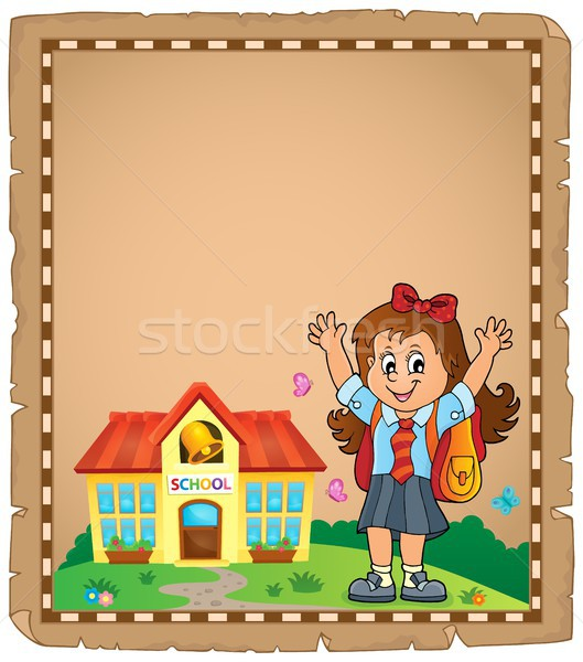 Happy pupil girl theme parchment 1 Stock photo © clairev