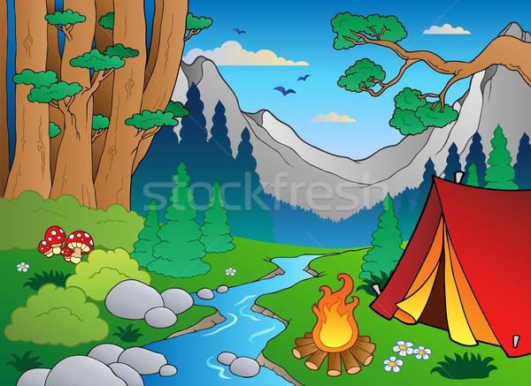 Cartoon forest landscape 4 Stock photo © clairev