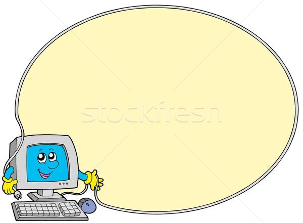 Foto stock: Computador · quadro · mãos · mão · olho · cara