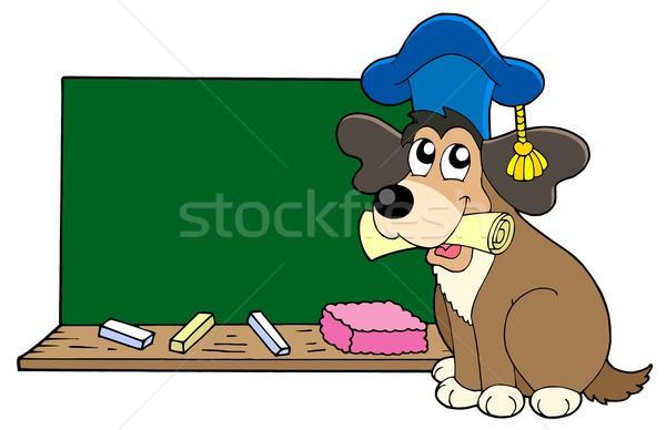 Hond leraar Blackboard papier onderwijs college Stockfoto © clairev