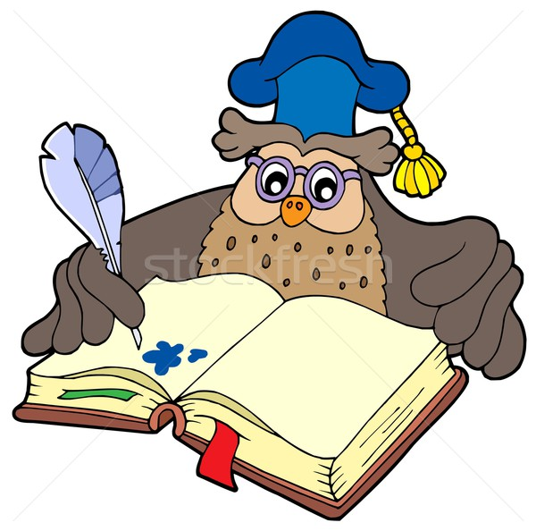 Stockfoto: Schrijven · uil · leraar · boek · school · pen