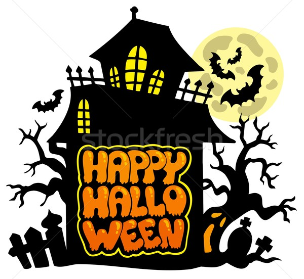 Foto stock: Feliz · halloween · edifício · janela · arte · assinar