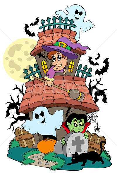 Haunted house with various characters Stock photo © clairev