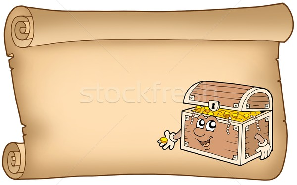 Old parchment with treasure chest Stock photo © clairev