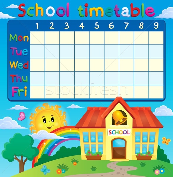 School timetable with school building Stock photo © clairev