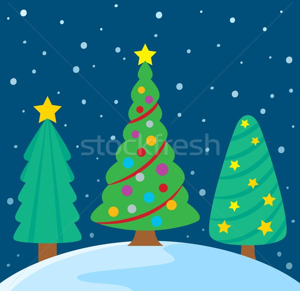 Stylizowany christmas drzew obraz drzewo sztuki Zdjęcia stock © clairev