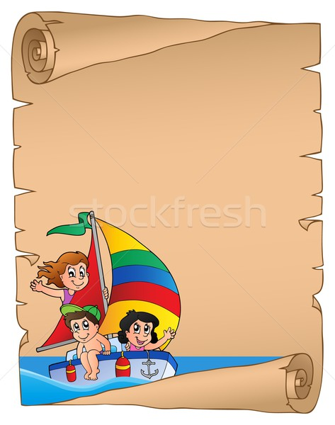 Parchment with children on ship Stock photo © clairev