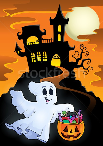Halloween ghost near haunted castle Stock photo © clairev