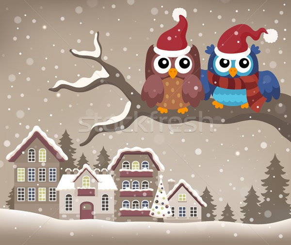 Christmas owls on branch theme image 2 Stock photo © clairev