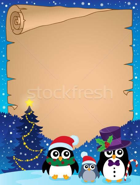 Stylized Christmas penguins parchment 1 Stock photo © clairev