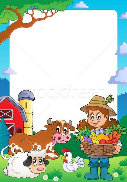 Frame with woman farmer and animals vector illustration © Klara ...