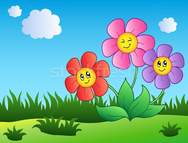 Stock photo: Three cartoon flowers on meadow