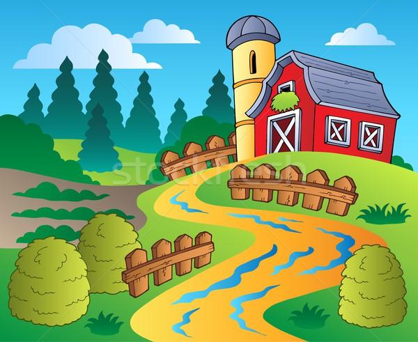 Land scène Rood schuur zomer pad Stockfoto © clairev