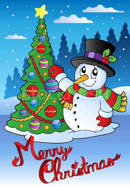 Stock photo: Merry Christmas card with snowman 1