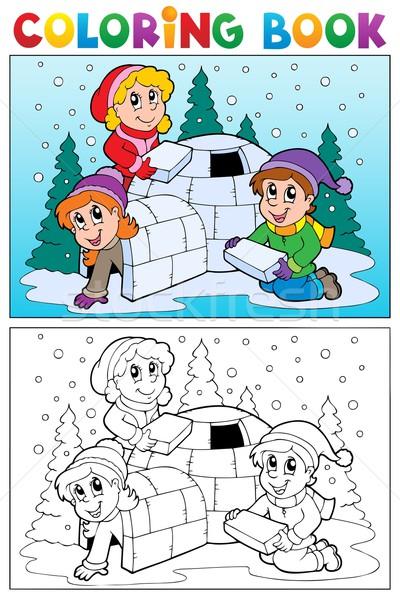 Kifestőkönyv tél téma lány könyv gyermek Stock fotó © clairev