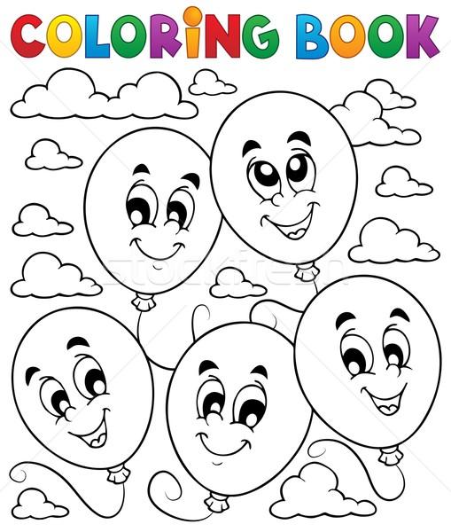 Kleurboek ballonnen glimlach boek verf kunst Stockfoto © clairev